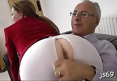 Lucky old man takes a juicy booty on his long erect shlong