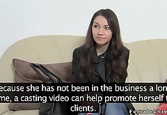 Female agent makes brunette lick her