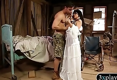 Busty lady gets fucked in isolated house