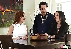 Threesome hardfucking with two babes