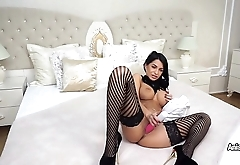 Busty MILF Anisyia solo plays with big pink dildo