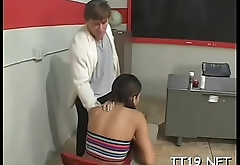 Lewd amateur wench gets her shaved pussy licked and fucked