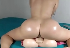 Thick Latina Riding Dildo On Cam
