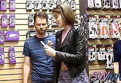 Swinger couple goes shopping for some kinky toys