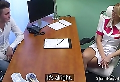 Blonde nurse fucks bent over in office