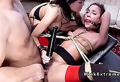 Busty anal fisted and fucked in threesome