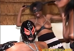 Chained black slave gets dick sucked before he fucks kinky ebony chicks
