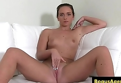 Real euro fingers herself slowly at casting