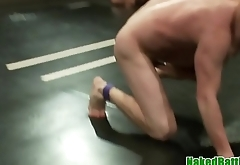 Athletic jock gets fisted and jerks dick