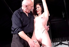 Table tied amateur slave Lolanis candle wax bdsm and bondage babe in erotic domination by strict sadomasochist master in the dungeon
