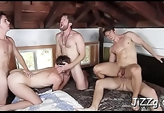 Muscular fellows are enjoying anal in group scenes during workout