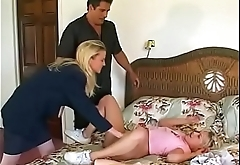 Babysitter fuck with the toys from the owner of the house -- and get hard fuck by them ...