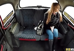 Desperate teen Kira Thorn undresses in the backseat