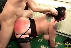 Chubby UK whore anally punished by masters big cock
