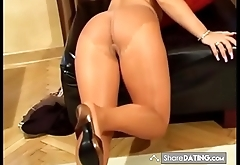 shiny pantyhose in heels