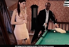 PINUP SEX - Pool table fantasy fuck with stunning natural babe Kattie Gold