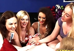 Jerking CFNM beauties sharing one cock