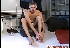 Feet tickling and balls massage with blonde twink