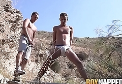 Twink tied up and blown hard until a hot climax outdoors