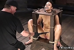 Hogtied in chair gets whipped