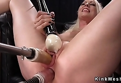 Busty blonde double penetration machine