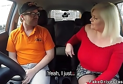 Fat mature fucks in driving school car