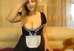Busty BBW Maid Skipping Work For Cam Whoring