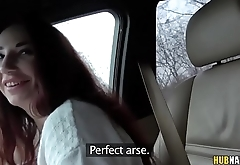 Russian slut fucks on the backseat for 1000EUR