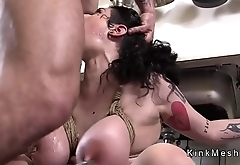 Huge tits slave in ropes anal fucked
