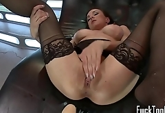 Toy loving babe drilled with machine