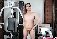 Smalltits tgirl amateur tugging in the gym